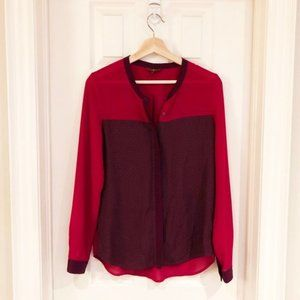 7 For All Sheer Button Up Shirt Burgundy / Red